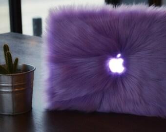 Faux Fur MacBook Case-Lavender
