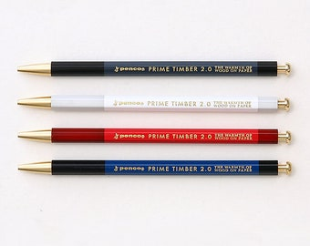 Hightide Penco Prime Timber Mechanical Pencil - Automatic Pencil, Retractable Pencil, Refillable Pencil, Brass Stationery, Refill Lead 2mm