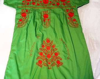 Large - Lime Green (Short/Above Knee) Mexican Dress #S114