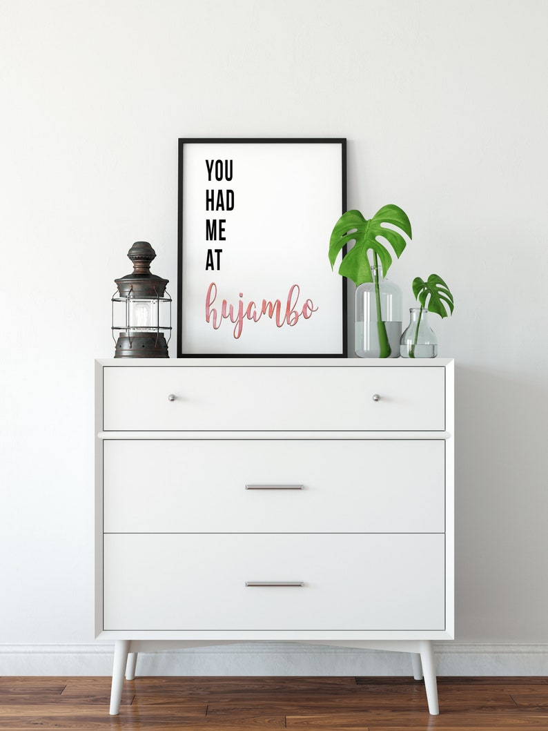 Digital African You Had Me At Hujambo (Hello) Quote Print // Swahili  Language - Swahili Print - African Art Print - Romantic Swahili Gift