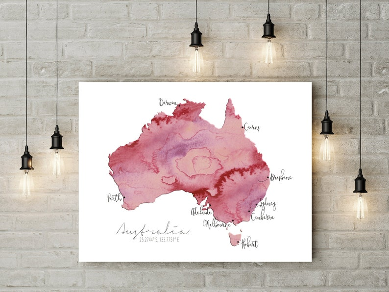 Map Of Australia Labelled.Digital Australia Labelled Watercolour Map Print