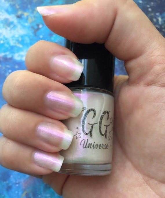 Pinkish White Nail Polish: Unicorny White Iridescent Nail Polish With Pink Shimmer
