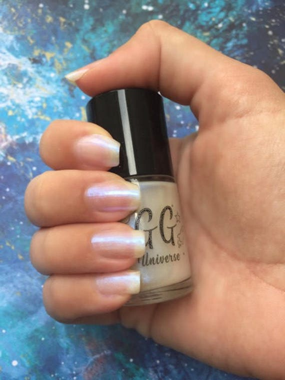 Faery Lore White Iridescent Nail Polish with Blue Shimmer
