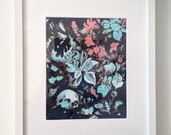 The Gardener is Gone, framed risograph print