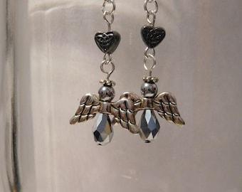 Angel with a heart earrings