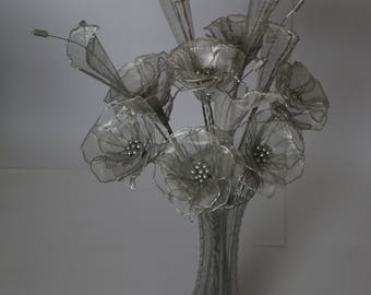 Wire Roses in Wire Vase