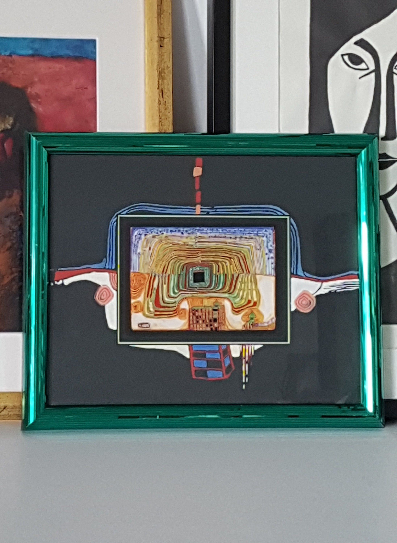 Hundertwasser Vintage 90s Druck Stowoda Kunstdruck / grün | Etsy