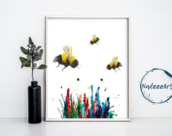 BEE Watercolor Print.