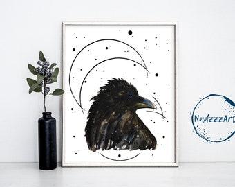 Raven Watercolor Print