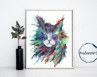 CAT Watercolor Print.