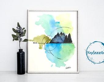 Nature watercolor print.