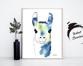 ALPACA watercolor, Instant Download in JPEG file