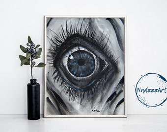 SCARED EYE Watercolor Print.