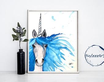 UNICORN watercolor print