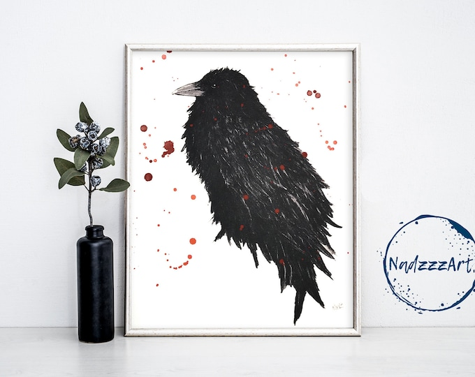 Crow Watercolor Print
