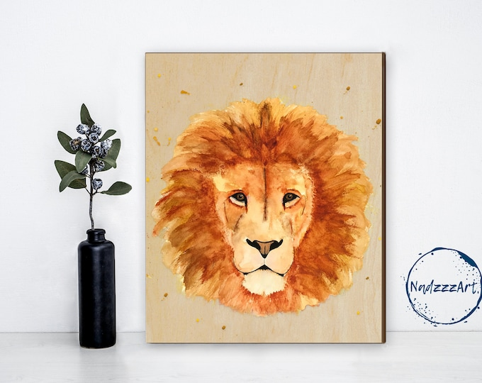 SEE TO DE - Watercolor on LION wood
