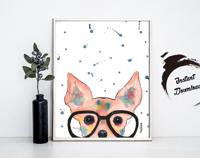CHIHUAHUA watercolor, Instant Download in JPEG file