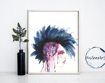 Punk Watercolor Print