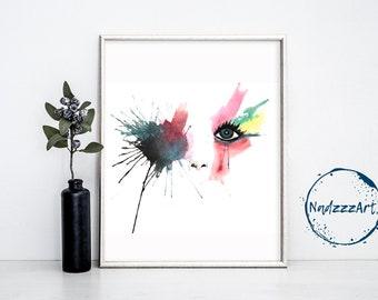 EYES Watercolor Print.