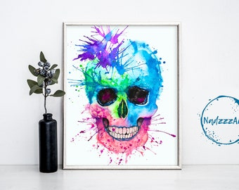 Skull watercolor print.