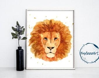 Lion Watercolor Print
