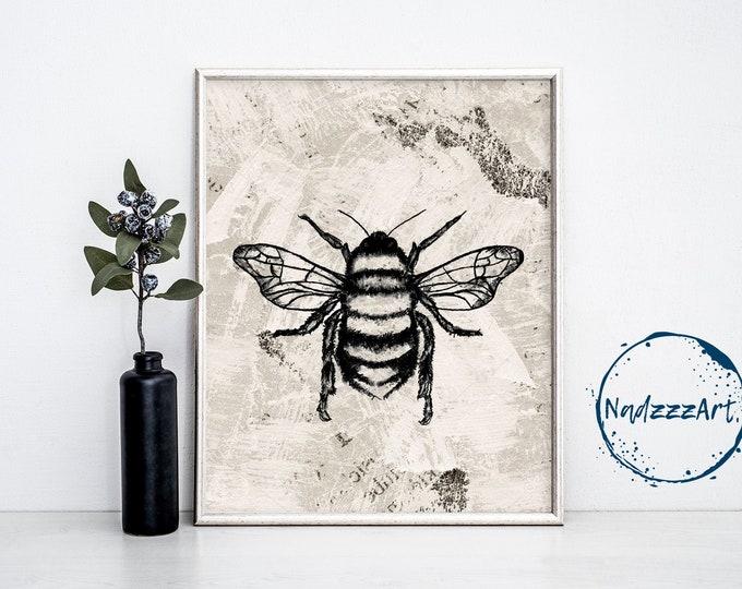 Bee Watercolor Print