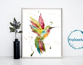Watercolor Print HUMMINGBIRD.