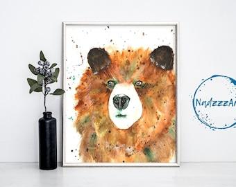 BEAR watercolor print