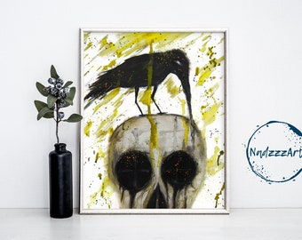 Crow on skull Watercolor Print.