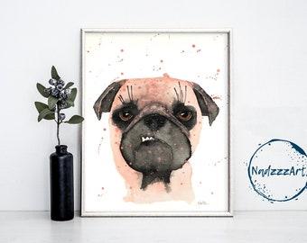 Pug dog watercolor print.