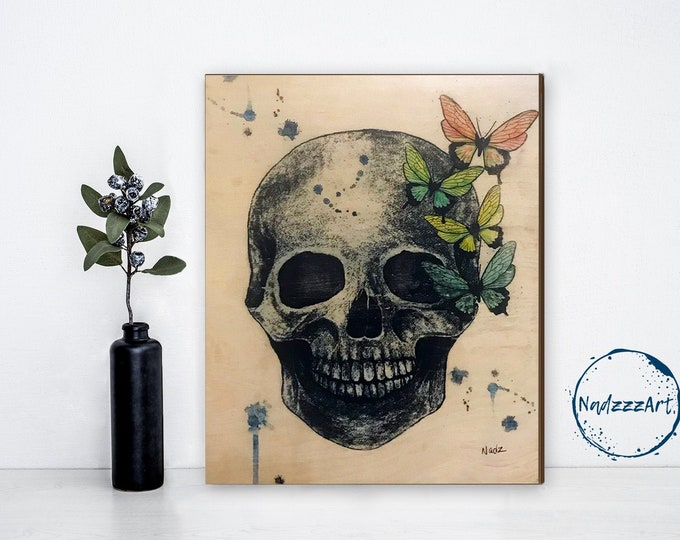SEE TO DE - Watercolor on wood SKULL