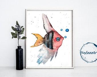 Fish Watercolor Print