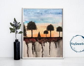 Watercolor Landscape Print.
