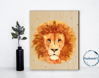 Watercolor on LION wood