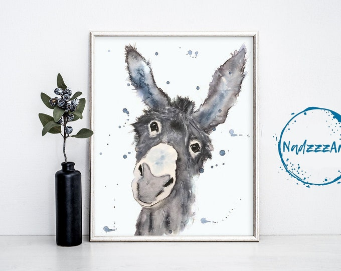 Donkey Watercolor Print.