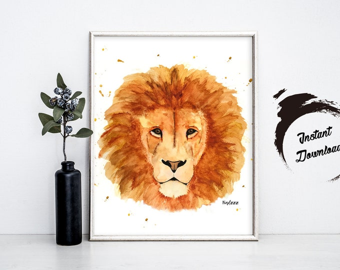 LION watercolor, Instant Download in JPEG file