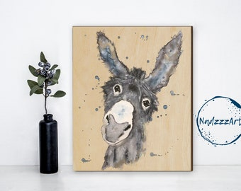 Watercolor on wood Donkey