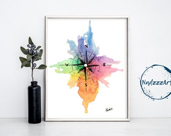Compass watercolor print.