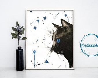 Black cat watercolor print.