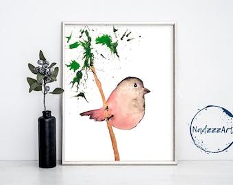Watercolor Bird Print