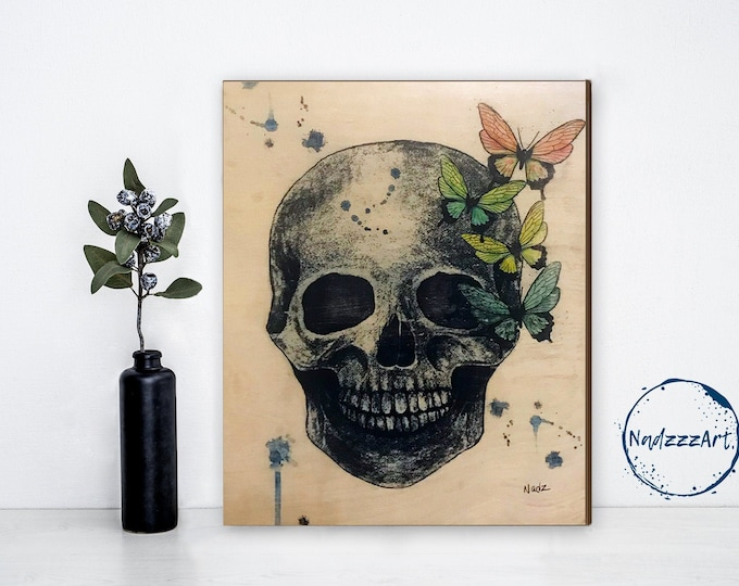 Watercolor on SKULL wood
