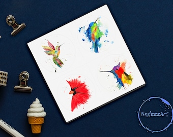 WATERcolor stickers OISEAUX.