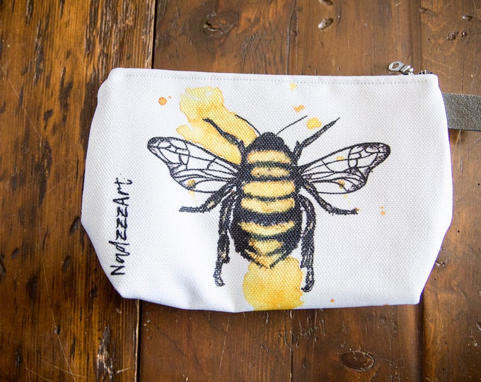 Large all-purpose pouch, watercolor Bee