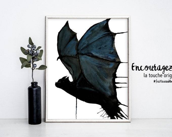 BAT Watercolor Print.