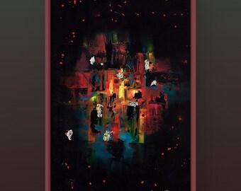 Acrylique abstraite colorée, 24x36 pouces sur canvas Artiste.