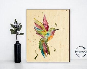 Watercolor on wood COLIBRI