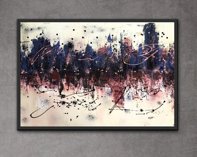 Toile abstraite a l'acrylique , 36x24 pouces sur toile Artiste.
