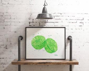 Original watercolor, lime, citrus, fruity watercolor, 9x12, watercolor paper, fruit, lime painting, kitchen decor, summer art, fresh fruit