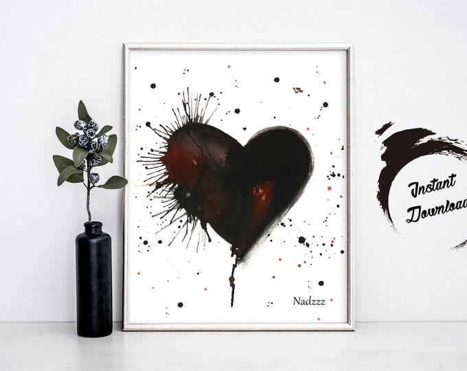 INSTANT DOWNLOAD, Black Heart watercolor in JPEG file