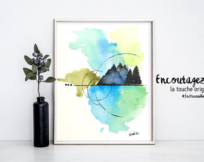 Nature watercolor print.